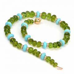 Estate 5.76 ct Diamond Peridot Beads Turquoise Rondelles 14K Gold Necklace