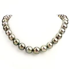 Black Pearl Diamond 16mm Tapering Strand 20 Inch Necklace