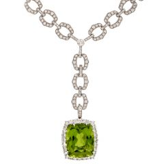 Elegant Diamond 33 Carat Peridot Dangling 14K Pendant Necklace