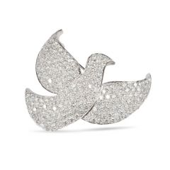 Cartier 10.00 Carats Diamond Dove 18K Brooch Pin