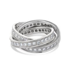 Cartier Diamond Trinity Rolling 18K White Gold Band Ring