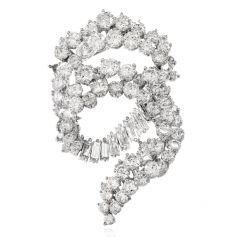 Vintage 1960s Diamond Cluster Swirl Platinum Pin Brooch