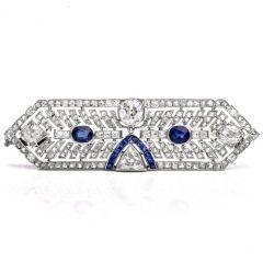 Antique Art Deco Diamond Sapphire Platinum Pin Brooch