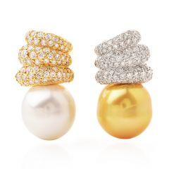 Golden White SouthSea 18k diamond Gold Clip on Earrings