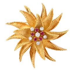 Hammerman Vintage Diamond Ruby Floral Pinwheel 18K Brooch Pin