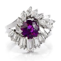 Fancy Pink Purple Sapphire Diamond 18k Gold Ballerina Cocktail Ring
