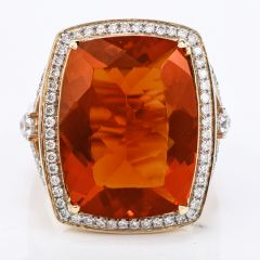 GIA 11.29ct Fire Opal & Diamond 14K Gold Halo Cocktail Ring