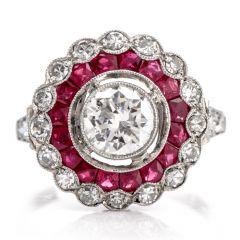 Vintage Diamond Ruby Platinum Halo Cocktail Engagement Ring