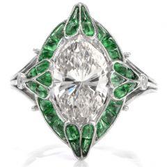 Antique Art Deco Marquise Diamond Emerald Platinum Cocktail Engagement Ring