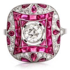 Antique Art Deco Diamond Ruby Platinum Cocktail Engagement Ring