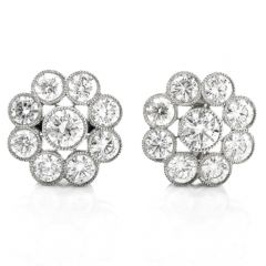 Vintage Diamond Floral Motif Platinum Stud Earrings