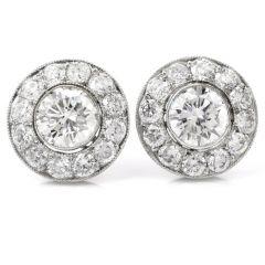 Vintage Halo Diamond Platinum Stud Earrings