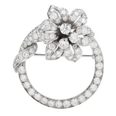 Tiffany &. Co Vintage Diamond Platinum Round Flower Brooch Pin