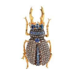 Estate Blue sapphire Diamond Silver Gold Bug Pin Brooch