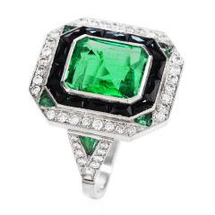 Estate Diamond  Colombian Emerald onyx Platinum Cocktail Ring