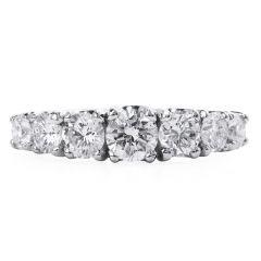 Estate Seven Gratuated Round Diamond Platinum  Band Ring