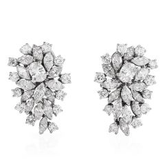 Estate Marquise Round Oval Cluster Diamond Platinum Clip Back Earrings