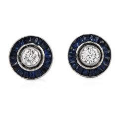 Estate Deco style Diamond Sapphire Platinum Stud Earrings