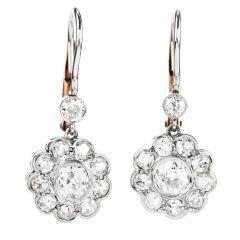 Vintage Old Cut Diamond Platinum 18K Gold Flower Dangle Earrings