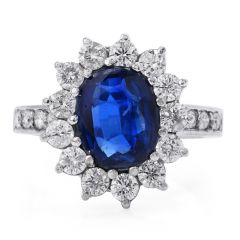 Estate Sapphire Diamond Platinum Flower Ring