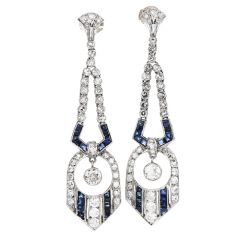 Antique Art Deco Diamond Blue Sapphire Platinum 14K Gold Geometric Dangle Earrings