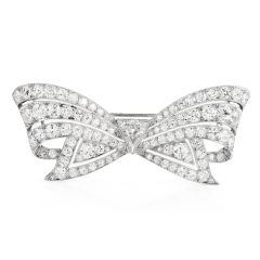 Antique  8.60 carats Diamond Platinum Cluster Bow Brooch Pin