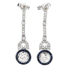 Vintage Art Deco Diamond Blue Sapphire Platinum Dangle Earrings