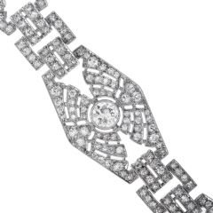 Vintage Art Deco 1930s Diamond Platinum Hexagon Link Bracelet