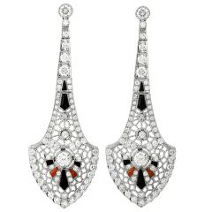 Estate Deco Style Platinum diamond onyx Coral Long Chandelier Earrings