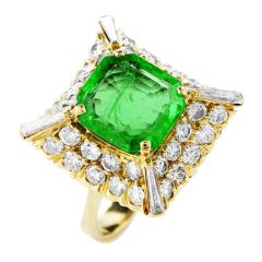 Estate 5.25cts Emerald Diamond 18K Gold Cocktail Ring