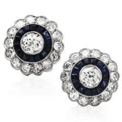 Vintage Art Deco Diamond Sapphire Platinum Halo Studs Earrings