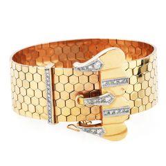 Vintage Retro 1950's wide 18k Pink Gold Diamond Belt Bracelet