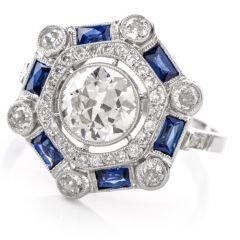 Antique European Cut Diamond Sapphire Platinum Cocktail Ring