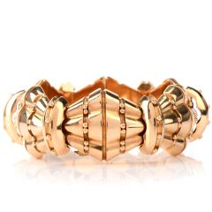 Wide Estate Artisan Barrel Geometric 18K Rose Gold Bracelet