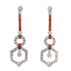 Estate Diamond Coral platinum Drop Dangle Earrings