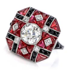 Estate Deco Ruby Diamond Onyx Platinum Ring