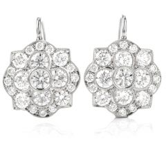 Coat of Arms Shield Diamond Platinum 18K Eurowire Earrings