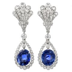 Vintage Diamond Sapphire Peacock Dangling 18K Earrings