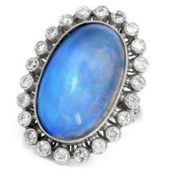 Vintage Opal Diamond Platinum Cocktail Fashion Ring