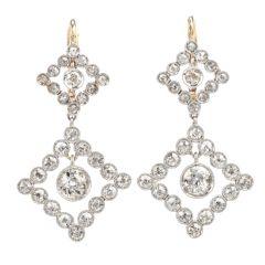 Estate Diamond Chandelier Platinum/18K Dangle Drop Earrings