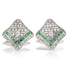 Antique 1930s Diamond Emerald Platinum Handkerchief Cufflinks