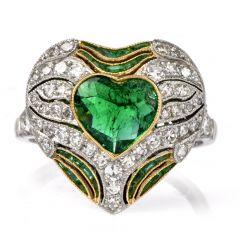 Estate Diamond Emerald Heart Platinum Ring