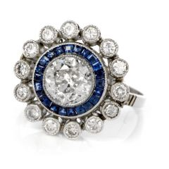 Estate Art Deco Diamond Sapphire Platinum Floral  Ring