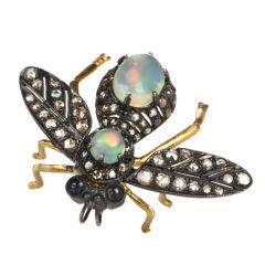 Estate Opal Diamond Silver18k gold  Bug Pin Brooch