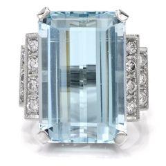 Vintage Retro Aquamarine Diamond Platinum Cocktail Ring