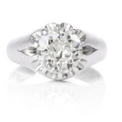 Estate Round Brilliant Diamond Men's Platinum Ring