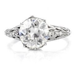 1920s European Cut Diamond Filigree Platinum Engagement Ring