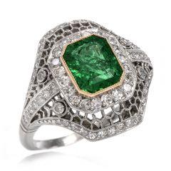 Estate Diamond Emerald Open Work Platinum Cocktail Ring