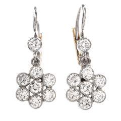 Estate Diamond Dangling Flower Motif Euro Earrings