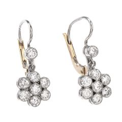 Estate Diamond Dangling Flower Motif Euro Earrings